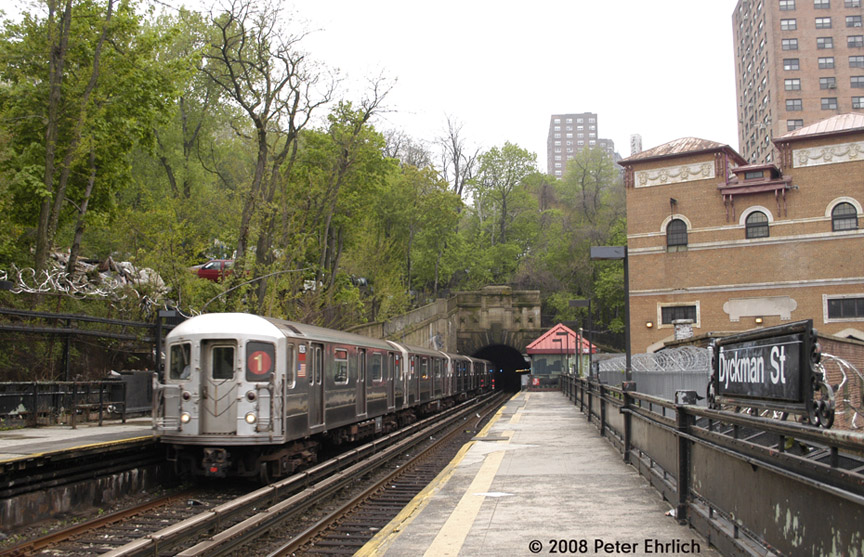 (229k, 864x557)<br><b>Country:</b> United States<br><b>City:</b> New York<br><b>System:</b> New York City Transit<br><b>Line:</b> IRT West Side Line<br><b>Location:</b> Dyckman Street <br><b>Car:</b> R-62A (Bombardier, 1984-1987)  1826 <br><b>Photo by:</b> Peter Ehrlich<br><b>Date:</b> 5/2/2008<br><b>Viewed (this week/total):</b> 1 / 1169