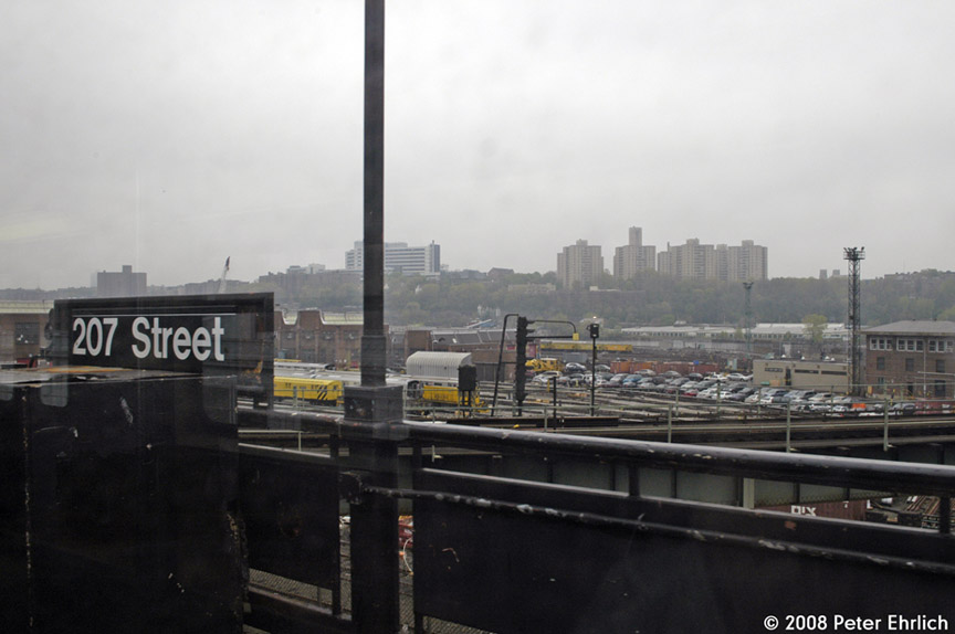 (126k, 864x574)<br><b>Country:</b> United States<br><b>City:</b> New York<br><b>System:</b> New York City Transit<br><b>Location:</b> 207th Street Yard<br><b>Photo by:</b> Peter Ehrlich<br><b>Date:</b> 5/2/2008<br><b>Notes:</b> With station sign in foreground.<br><b>Viewed (this week/total):</b> 1 / 609