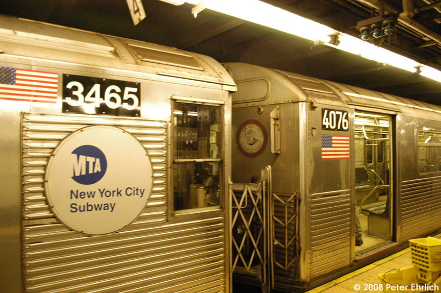 (216k, 864x574)<br><b>Country:</b> United States<br><b>City:</b> New York<br><b>System:</b> New York City Transit<br><b>Line:</b> IND 8th Avenue Line<br><b>Location:</b> 168th Street <br><b>Car:</b> R-32 (Budd, 1964)  3465 <br><b>Photo by:</b> Peter Ehrlich<br><b>Date:</b> 5/2/2008<br><b>Notes:</b> R32 3465 and R38 4076 trainlined.  Note different end logos and numbering styles.<br><b>Viewed (this week/total):</b> 7 / 1515