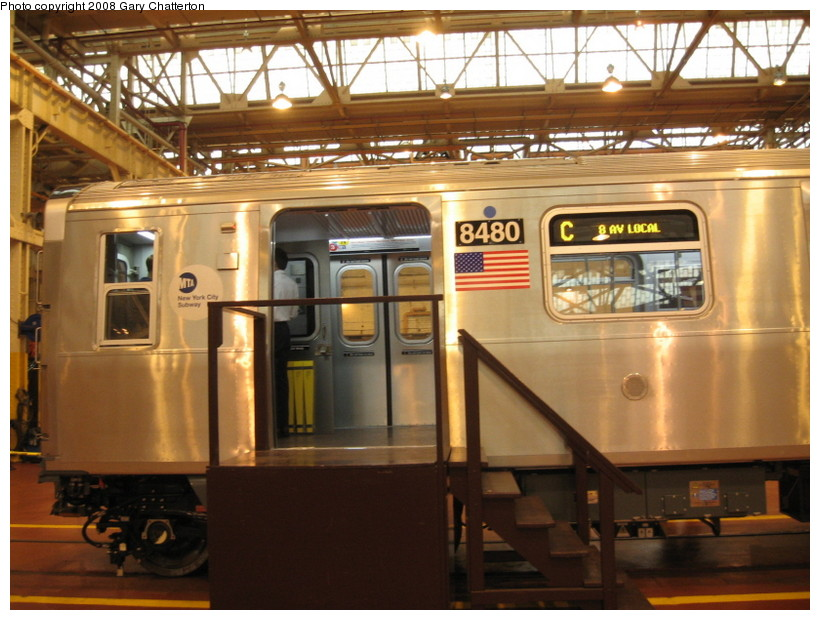 (147k, 820x620)<br><b>Country:</b> United States<br><b>City:</b> New York<br><b>System:</b> New York City Transit<br><b>Location:</b> Coney Island Shop/Overhaul & Repair Shop<br><b>Car:</b> R-160A-1 (Alstom, 2005-2008, 4 car sets)  8480 <br><b>Photo by:</b> Gary Chatterton<br><b>Date:</b> 4/12/2008<br><b>Viewed (this week/total):</b> 4 / 3240