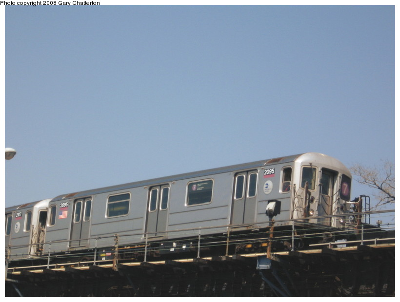 (87k, 820x620)<br><b>Country:</b> United States<br><b>City:</b> New York<br><b>System:</b> New York City Transit<br><b>Line:</b> IRT Flushing Line<br><b>Location:</b> Willets Point/Mets (fmr. Shea Stadium) <br><b>Route:</b> 7<br><b>Car:</b> R-62A (Bombardier, 1984-1987)  2095 <br><b>Photo by:</b> Gary Chatterton<br><b>Date:</b> 4/19/2008<br><b>Viewed (this week/total):</b> 0 / 659