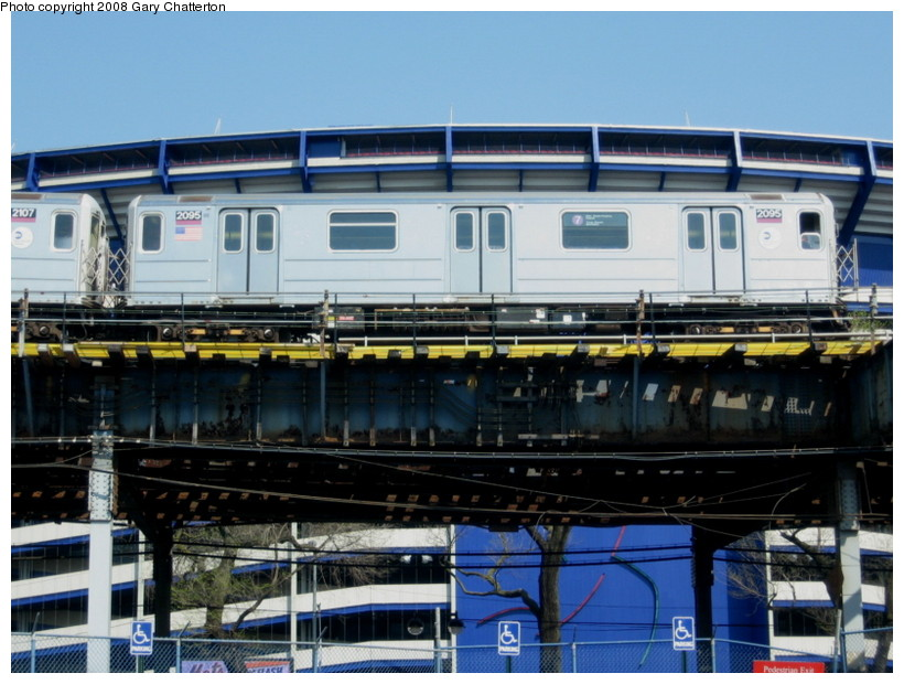 (144k, 820x620)<br><b>Country:</b> United States<br><b>City:</b> New York<br><b>System:</b> New York City Transit<br><b>Line:</b> IRT Flushing Line<br><b>Location:</b> Willets Point/Mets (fmr. Shea Stadium) <br><b>Route:</b> 7<br><b>Car:</b> R-62A (Bombardier, 1984-1987)  2095 <br><b>Photo by:</b> Gary Chatterton<br><b>Date:</b> 4/19/2008<br><b>Viewed (this week/total):</b> 2 / 875