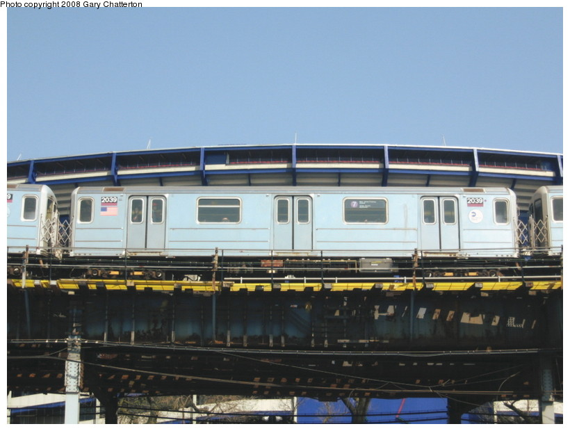(116k, 820x620)<br><b>Country:</b> United States<br><b>City:</b> New York<br><b>System:</b> New York City Transit<br><b>Line:</b> IRT Flushing Line<br><b>Location:</b> Willets Point/Mets (fmr. Shea Stadium) <br><b>Route:</b> 7<br><b>Car:</b> R-62A (Bombardier, 1984-1987)  2039 <br><b>Photo by:</b> Gary Chatterton<br><b>Date:</b> 4/19/2008<br><b>Viewed (this week/total):</b> 0 / 694