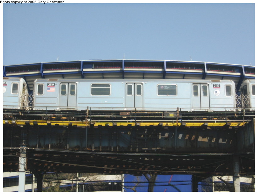 (115k, 820x620)<br><b>Country:</b> United States<br><b>City:</b> New York<br><b>System:</b> New York City Transit<br><b>Line:</b> IRT Flushing Line<br><b>Location:</b> Willets Point/Mets (fmr. Shea Stadium) <br><b>Route:</b> 7<br><b>Car:</b> R-62A (Bombardier, 1984-1987)  2119 <br><b>Photo by:</b> Gary Chatterton<br><b>Date:</b> 4/19/2008<br><b>Viewed (this week/total):</b> 0 / 680