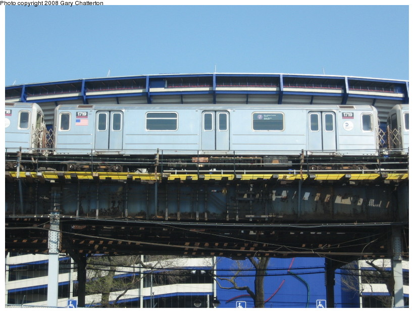 (139k, 820x620)<br><b>Country:</b> United States<br><b>City:</b> New York<br><b>System:</b> New York City Transit<br><b>Line:</b> IRT Flushing Line<br><b>Location:</b> Willets Point/Mets (fmr. Shea Stadium) <br><b>Route:</b> 7<br><b>Car:</b> R-62A (Bombardier, 1984-1987)  1719 <br><b>Photo by:</b> Gary Chatterton<br><b>Date:</b> 4/19/2008<br><b>Viewed (this week/total):</b> 1 / 1000