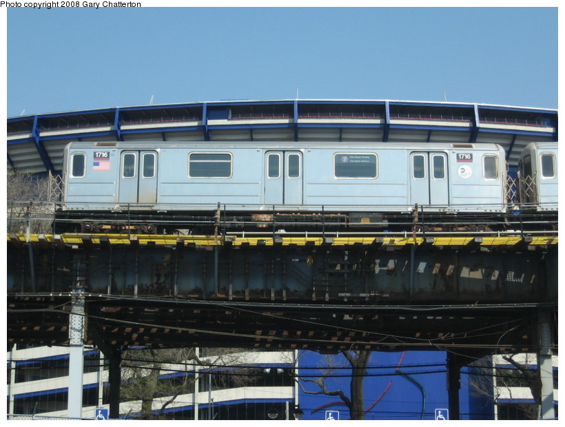 (135k, 820x620)<br><b>Country:</b> United States<br><b>City:</b> New York<br><b>System:</b> New York City Transit<br><b>Line:</b> IRT Flushing Line<br><b>Location:</b> Willets Point/Mets (fmr. Shea Stadium) <br><b>Route:</b> 7<br><b>Car:</b> R-62A (Bombardier, 1984-1987)  1716 <br><b>Photo by:</b> Gary Chatterton<br><b>Date:</b> 4/19/2008<br><b>Viewed (this week/total):</b> 3 / 1244