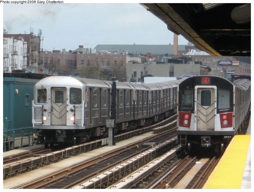 (143k, 820x620)<br><b>Country:</b> United States<br><b>City:</b> New York<br><b>System:</b> New York City Transit<br><b>Line:</b> IRT Woodlawn Line<br><b>Location:</b> 183rd Street <br><b>Route:</b> 4<br><b>Car:</b> R-62 (Kawasaki, 1983-1985)   <br><b>Photo by:</b> Gary Chatterton<br><b>Date:</b> 5/4/2008<br><b>Notes:</b> With R142A 7741<br><b>Viewed (this week/total):</b> 10 / 2330
