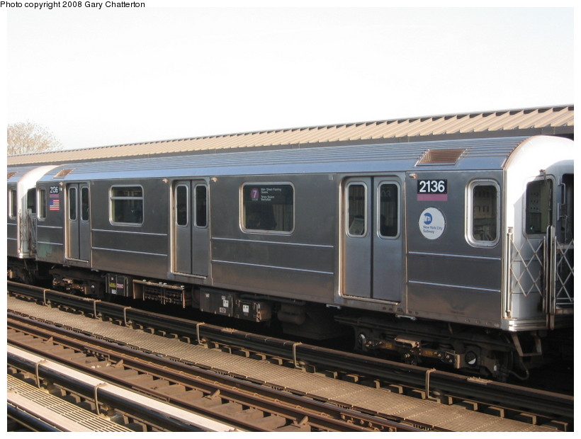 (125k, 820x620)<br><b>Country:</b> United States<br><b>City:</b> New York<br><b>System:</b> New York City Transit<br><b>Line:</b> IRT Flushing Line<br><b>Location:</b> 103rd Street/Corona Plaza <br><b>Route:</b> 7<br><b>Car:</b> R-62A (Bombardier, 1984-1987)  2136 <br><b>Photo by:</b> Gary Chatterton<br><b>Date:</b> 5/6/2008<br><b>Viewed (this week/total):</b> 3 / 932
