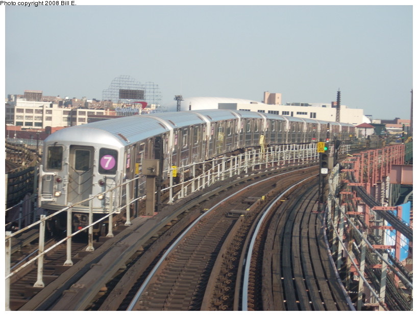 (168k, 819x619)<br><b>Country:</b> United States<br><b>City:</b> New York<br><b>System:</b> New York City Transit<br><b>Line:</b> IRT Flushing Line<br><b>Location:</b> Queensborough Plaza <br><b>Route:</b> 7<br><b>Car:</b> R-62A (Bombardier, 1984-1987)   <br><b>Photo by:</b> Bill E.<br><b>Date:</b> 4/23/2008<br><b>Viewed (this week/total):</b> 0 / 1217