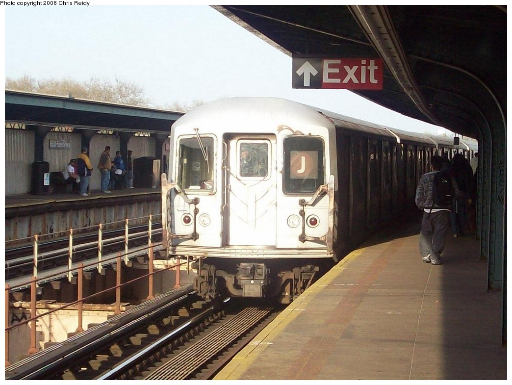 (215k, 1044x785)<br><b>Country:</b> United States<br><b>City:</b> New York<br><b>System:</b> New York City Transit<br><b>Line:</b> BMT Nassau Street/Jamaica Line<br><b>Location:</b> 85th Street/Forest Parkway <br><b>Route:</b> J<br><b>Car:</b> R-42 (St. Louis, 1969-1970)  4799 <br><b>Photo by:</b> Chris Reidy<br><b>Date:</b> 4/21/2008<br><b>Viewed (this week/total):</b> 1 / 1727