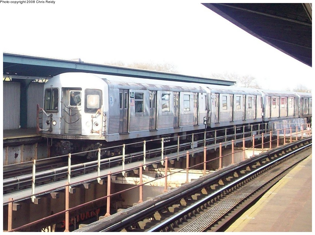 (224k, 1044x781)<br><b>Country:</b> United States<br><b>City:</b> New York<br><b>System:</b> New York City Transit<br><b>Line:</b> BMT Nassau Street/Jamaica Line<br><b>Location:</b> 85th Street/Forest Parkway <br><b>Route:</b> J<br><b>Car:</b> R-42 (St. Louis, 1969-1970)  4820 <br><b>Photo by:</b> Chris Reidy<br><b>Date:</b> 4/21/2008<br><b>Viewed (this week/total):</b> 0 / 1298
