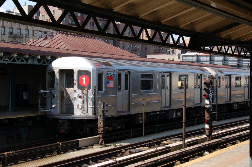 (216k, 1024x680)<br><b>Country:</b> United States<br><b>City:</b> New York<br><b>System:</b> New York City Transit<br><b>Line:</b> IRT West Side Line<br><b>Location:</b> 207th Street <br><b>Route:</b> 1<br><b>Car:</b> R-62A (Bombardier, 1984-1987)  2235 <br><b>Photo by:</b> Brian Weinberg<br><b>Date:</b> 5/4/2008<br><b>Viewed (this week/total):</b> 3 / 849