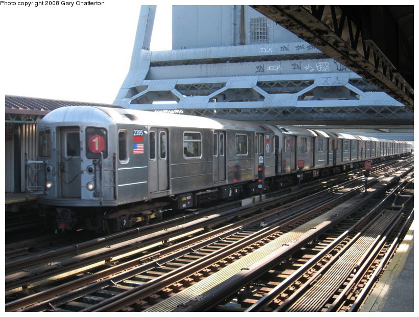 (159k, 820x620)<br><b>Country:</b> United States<br><b>City:</b> New York<br><b>System:</b> New York City Transit<br><b>Line:</b> IRT West Side Line<br><b>Location:</b> 225th Street <br><b>Route:</b> 1<br><b>Car:</b> R-62A (Bombardier, 1984-1987)  2395 <br><b>Photo by:</b> Gary Chatterton<br><b>Date:</b> 3/11/2008<br><b>Viewed (this week/total):</b> 3 / 1011