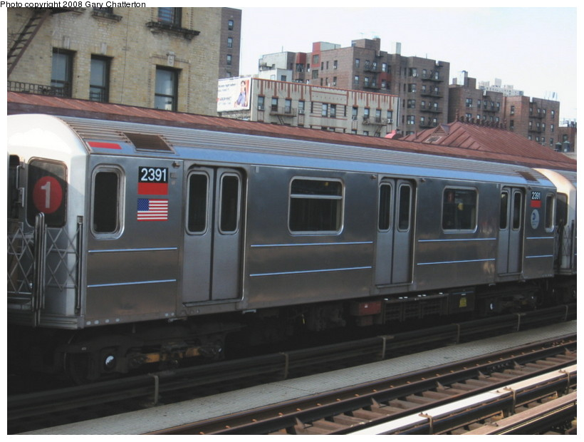 (122k, 820x620)<br><b>Country:</b> United States<br><b>City:</b> New York<br><b>System:</b> New York City Transit<br><b>Line:</b> IRT West Side Line<br><b>Location:</b> 215th Street <br><b>Route:</b> 1<br><b>Car:</b> R-62A (Bombardier, 1984-1987)  2391 <br><b>Photo by:</b> Gary Chatterton<br><b>Date:</b> 3/11/2008<br><b>Viewed (this week/total):</b> 0 / 1650
