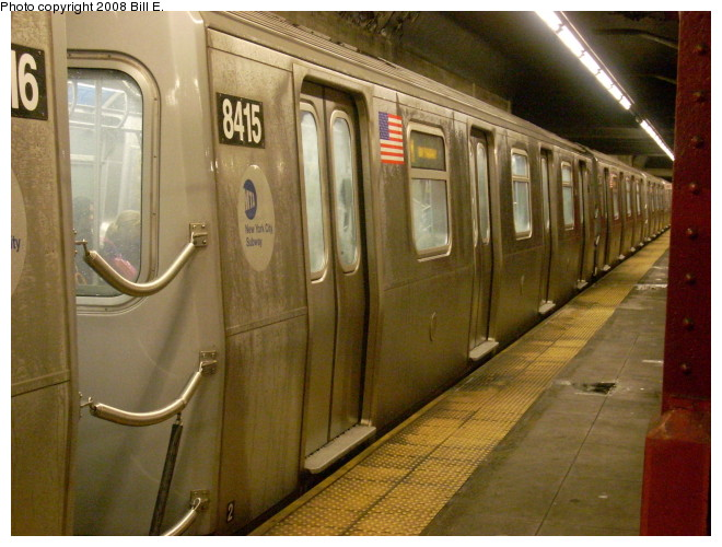 (131k, 660x500)<br><b>Country:</b> United States<br><b>City:</b> New York<br><b>System:</b> New York City Transit<br><b>Line:</b> BMT Nassau Street/Jamaica Line<br><b>Location:</b> Bowery <br><b>Route:</b> M<br><b>Car:</b> R-160A-1 (Alstom, 2005-2008, 4 car sets)  8415 <br><b>Photo by:</b> Bill E.<br><b>Date:</b> 5/9/2008<br><b>Viewed (this week/total):</b> 6 / 2291