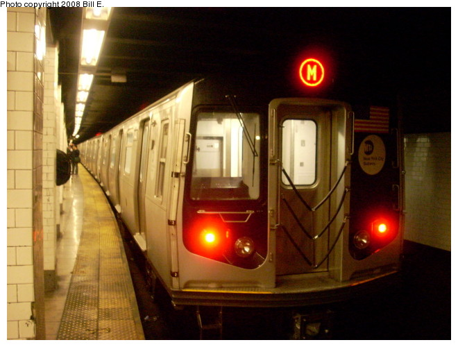 (116k, 660x500)<br><b>Country:</b> United States<br><b>City:</b> New York<br><b>System:</b> New York City Transit<br><b>Line:</b> BMT Nassau Street/Jamaica Line<br><b>Location:</b> Canal Street <br><b>Route:</b> M<br><b>Car:</b> R-160A-1 (Alstom, 2005-2008, 4 car sets)   <br><b>Photo by:</b> Bill E.<br><b>Date:</b> 5/9/2008<br><b>Viewed (this week/total):</b> 1 / 1823