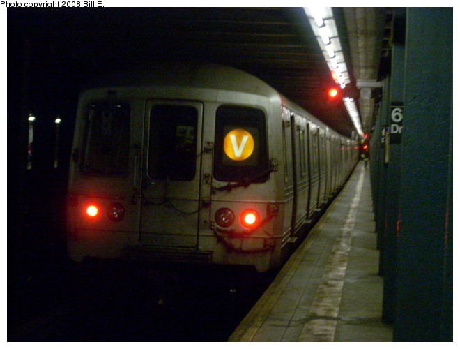 (110k, 660x500)<br><b>Country:</b> United States<br><b>City:</b> New York<br><b>System:</b> New York City Transit<br><b>Line:</b> IND Queens Boulevard Line<br><b>Location:</b> 63rd Drive/Rego Park <br><b>Route:</b> V<br><b>Car:</b> R-46 (Pullman-Standard, 1974-75)  <br><b>Photo by:</b> Bill E.<br><b>Date:</b> 5/9/2008<br><b>Viewed (this week/total):</b> 2 / 1378