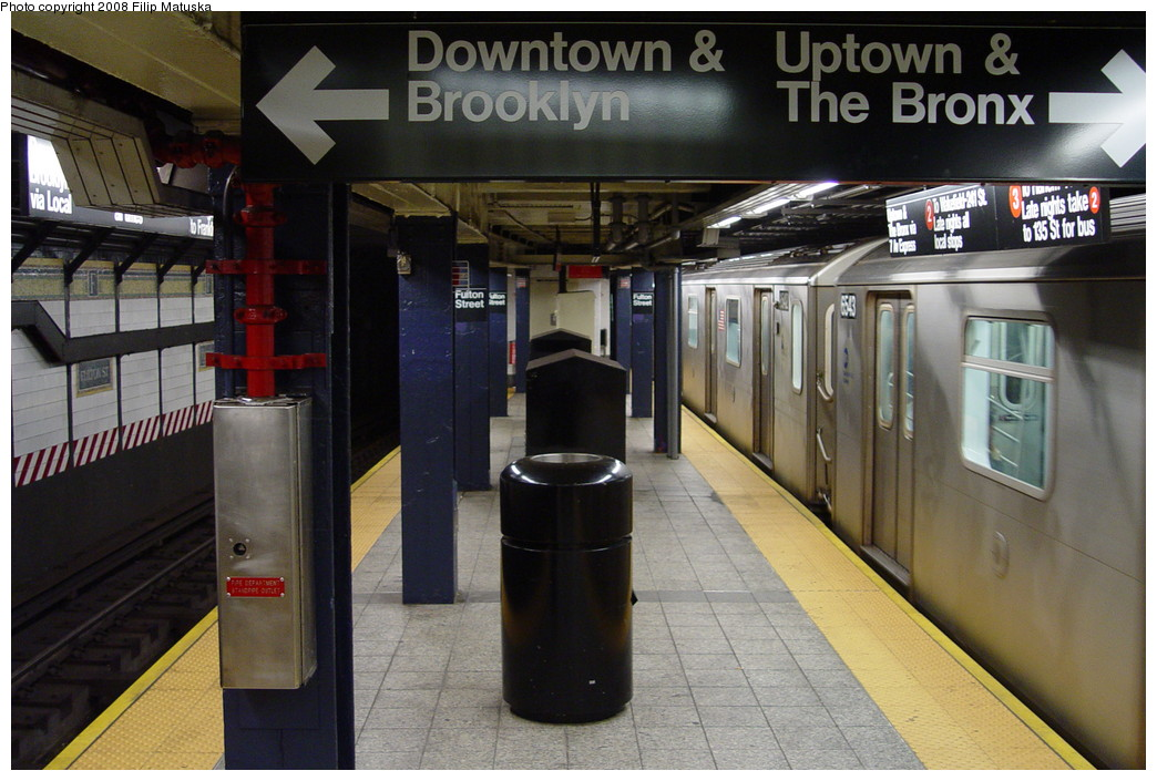 (203k, 1044x705)<br><b>Country:</b> United States<br><b>City:</b> New York<br><b>System:</b> New York City Transit<br><b>Line:</b> IRT West Side Line<br><b>Location:</b> Fulton Street <br><b>Route:</b> 2<br><b>Car:</b> R-142 (Primary Order, Bombardier, 1999-2002)  6543 <br><b>Photo by:</b> Filip Matuska<br><b>Date:</b> 6/7/2007<br><b>Viewed (this week/total):</b> 0 / 2286
