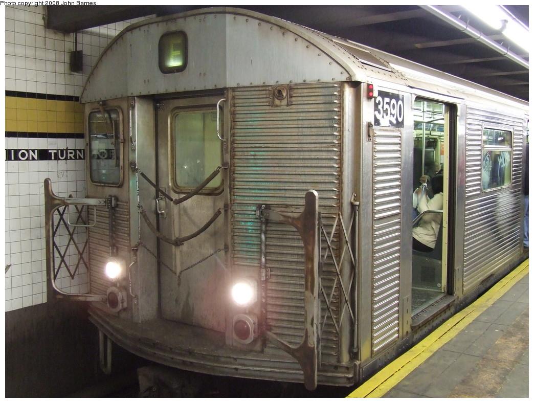 (243k, 1044x788)<br><b>Country:</b> United States<br><b>City:</b> New York<br><b>System:</b> New York City Transit<br><b>Line:</b> IND Queens Boulevard Line<br><b>Location:</b> Union Turnpike/Kew Gardens <br><b>Route:</b> R<br><b>Car:</b> R-32 (Budd, 1964)  3590 <br><b>Photo by:</b> John Barnes<br><b>Date:</b> 4/7/2007<br><b>Viewed (this week/total):</b> 3 / 1627