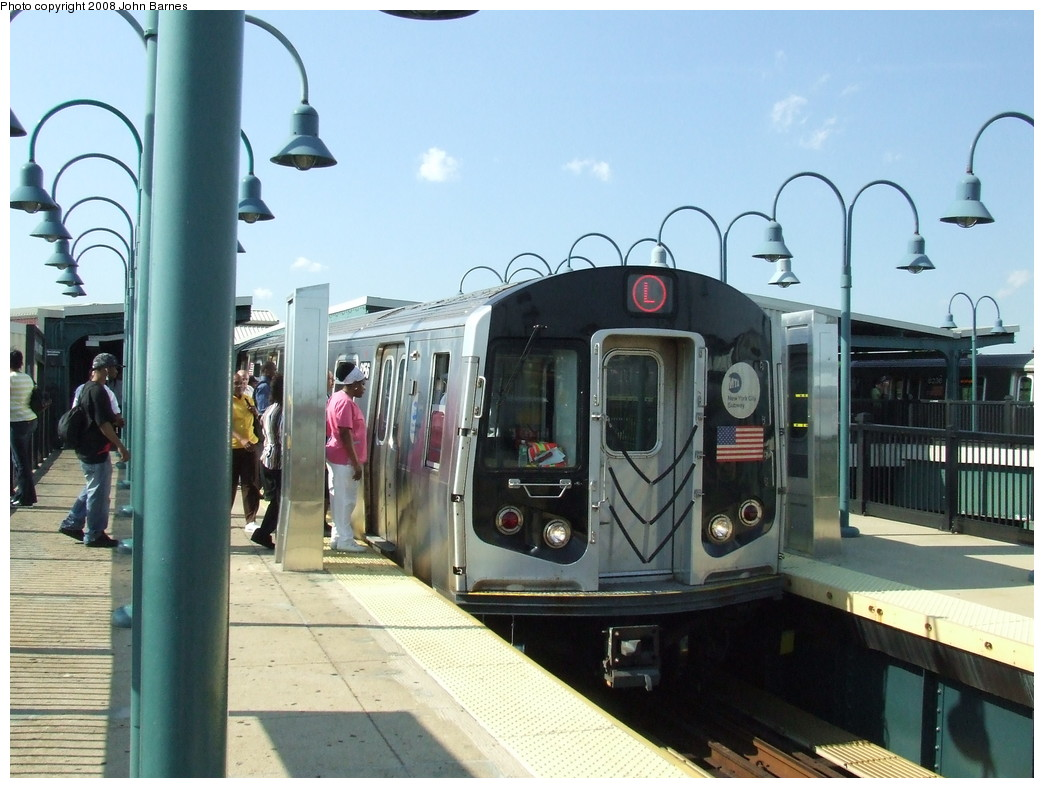 (207k, 1044x788)<br><b>Country:</b> United States<br><b>City:</b> New York<br><b>System:</b> New York City Transit<br><b>Line:</b> BMT Canarsie Line<br><b>Location:</b> Broadway Junction <br><b>Route:</b> L<br><b>Car:</b> R-143 (Kawasaki, 2001-2002) 8156 <br><b>Photo by:</b> John Barnes<br><b>Date:</b> 6/21/2007<br><b>Viewed (this week/total):</b> 0 / 941