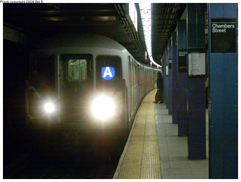 (162k, 819x619)<br><b>Country:</b> United States<br><b>City:</b> New York<br><b>System:</b> New York City Transit<br><b>Line:</b> IND 8th Avenue Line<br><b>Location:</b> Chambers Street/World Trade Center <br><b>Route:</b> A<br><b>Car:</b> R-42 (St. Louis, 1969-1970)  4557 <br><b>Photo by:</b> Bill E.<br><b>Date:</b> 5/17/2008<br><b>Viewed (this week/total):</b> 0 / 1522