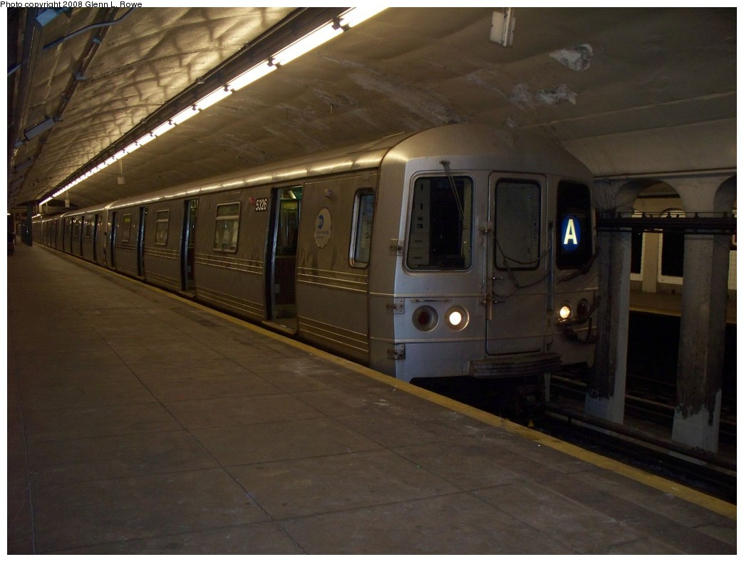 (166k, 1044x789)<br><b>Country:</b> United States<br><b>City:</b> New York<br><b>System:</b> New York City Transit<br><b>Line:</b> IND 8th Avenue Line<br><b>Location:</b> 190th Street/Overlook Terrace <br><b>Route:</b> A<br><b>Car:</b> R-44 (St. Louis, 1971-73) 5326 <br><b>Photo by:</b> Glenn L. Rowe<br><b>Date:</b> 5/15/2008<br><b>Viewed (this week/total):</b> 1 / 1870