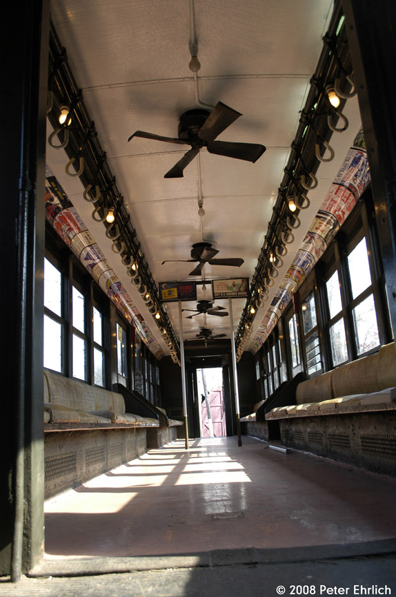 (183k, 574x864)<br><b>Country:</b> United States<br><b>City:</b> East Haven/Branford, Ct.<br><b>System:</b> Shore Line Trolley Museum <br><b>Car:</b> Low-V 5466 <br><b>Photo by:</b> Peter Ehrlich<br><b>Date:</b> 4/26/2008<br><b>Notes:</b> Interior view.<br><b>Viewed (this week/total):</b> 0 / 604