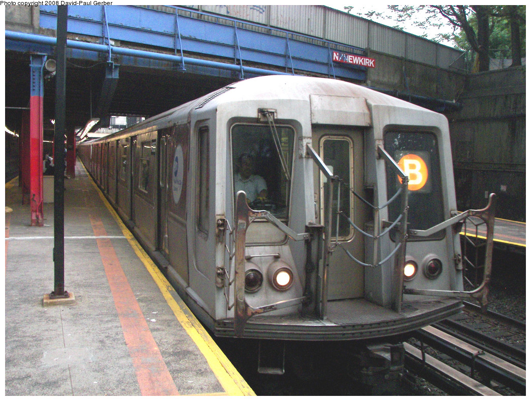 (339k, 1044x788)<br><b>Country:</b> United States<br><b>City:</b> New York<br><b>System:</b> New York City Transit<br><b>Line:</b> BMT Brighton Line<br><b>Location:</b> Newkirk Plaza (fmrly Newkirk Ave.) <br><b>Route:</b> B<br><b>Car:</b> R-40 (St. Louis, 1968)   <br><b>Photo by:</b> David-Paul Gerber<br><b>Date:</b> 5/15/2008<br><b>Viewed (this week/total):</b> 1 / 1504