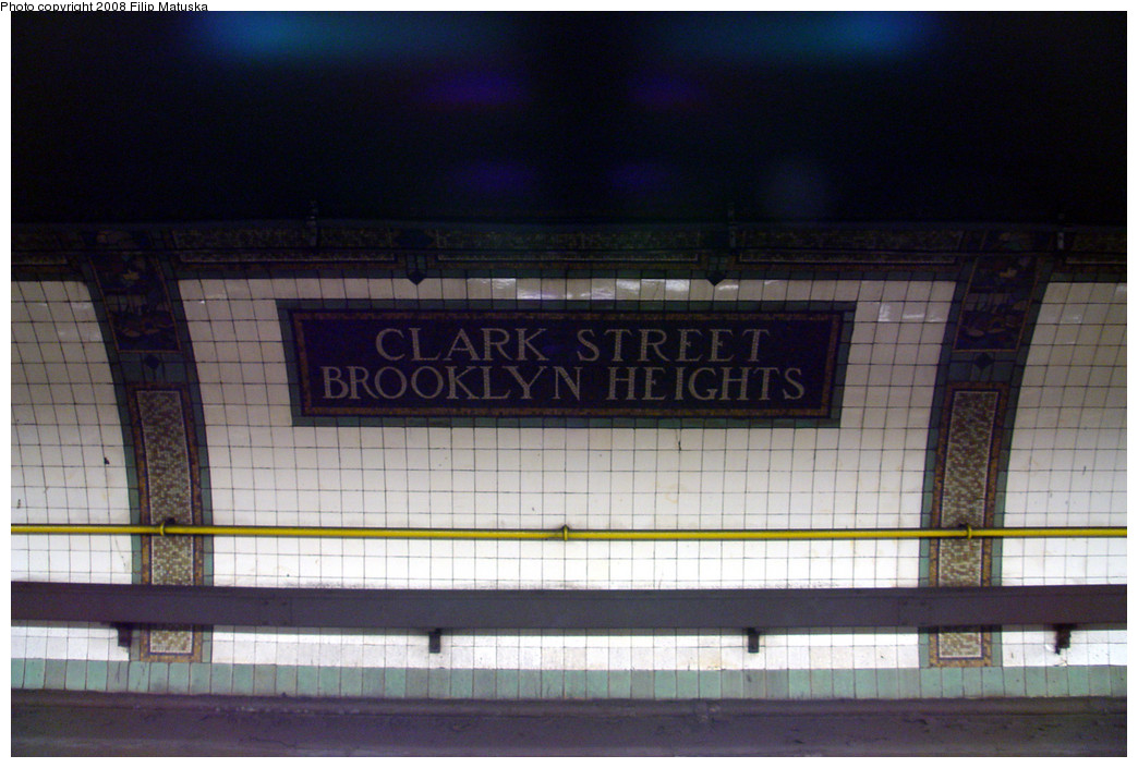 (234k, 1044x705)<br><b>Country:</b> United States<br><b>City:</b> New York<br><b>System:</b> New York City Transit<br><b>Line:</b> IRT Brooklyn Line<br><b>Location:</b> Clark Street <br><b>Photo by:</b> Filip Matuska<br><b>Date:</b> 6/8/2007<br><b>Viewed (this week/total):</b> 0 / 1081
