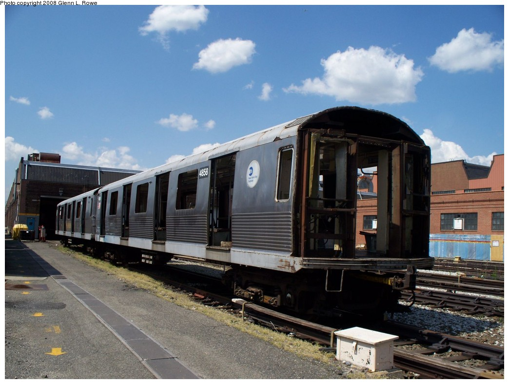 (210k, 1044x789)<br><b>Country:</b> United States<br><b>City:</b> New York<br><b>System:</b> New York City Transit<br><b>Location:</b> 207th Street Yard<br><b>Car:</b> R-42 (St. Louis, 1969-1970)  4858 <br><b>Photo by:</b> Glenn L. Rowe<br><b>Date:</b> 5/21/2008<br><b>Viewed (this week/total):</b> 1 / 872