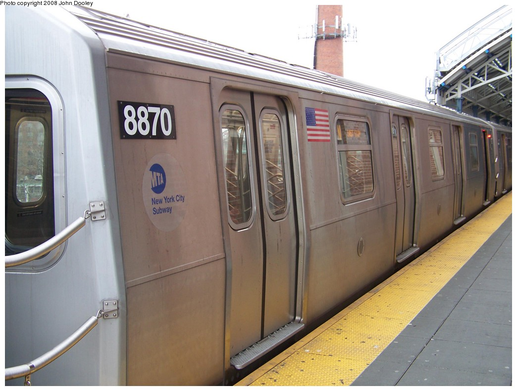 (189k, 1044x789)<br><b>Country:</b> United States<br><b>City:</b> New York<br><b>System:</b> New York City Transit<br><b>Location:</b> Coney Island/Stillwell Avenue<br><b>Route:</b> N<br><b>Car:</b> R-160B (Kawasaki, 2005-2008)  8870 <br><b>Photo by:</b> John Dooley<br><b>Date:</b> 1/19/2007<br><b>Viewed (this week/total):</b> 0 / 1082