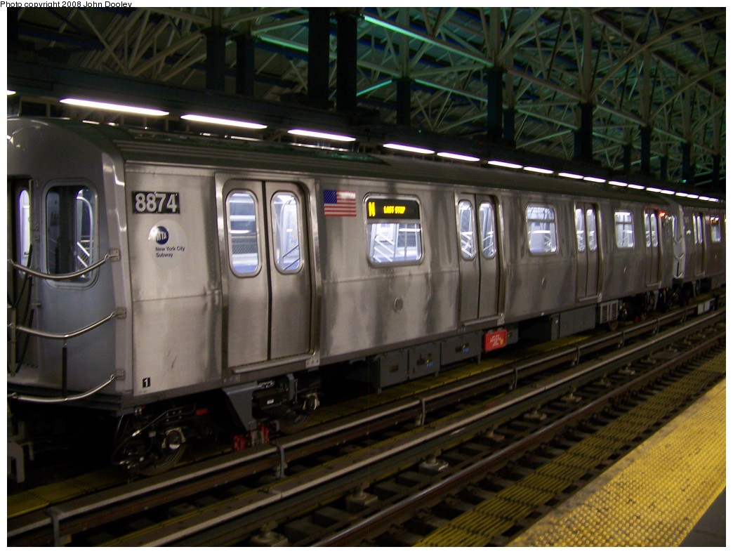 (202k, 1044x789)<br><b>Country:</b> United States<br><b>City:</b> New York<br><b>System:</b> New York City Transit<br><b>Location:</b> Coney Island/Stillwell Avenue<br><b>Route:</b> N<br><b>Car:</b> R-160B (Kawasaki, 2005-2008)  8874 <br><b>Photo by:</b> John Dooley<br><b>Date:</b> 1/18/2007<br><b>Viewed (this week/total):</b> 1 / 1639