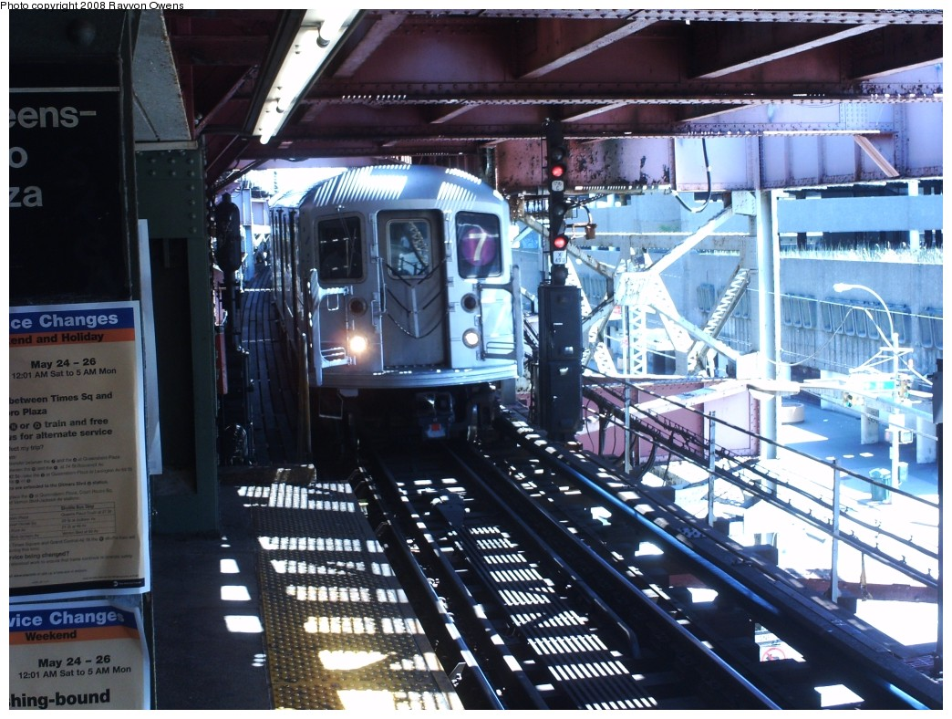 (250k, 1044x788)<br><b>Country:</b> United States<br><b>City:</b> New York<br><b>System:</b> New York City Transit<br><b>Line:</b> IRT Flushing Line<br><b>Location:</b> Queensborough Plaza <br><b>Route:</b> 7<br><b>Car:</b> R-62A (Bombardier, 1984-1987)  1741 <br><b>Photo by:</b> Rayvon Owens<br><b>Date:</b> 5/25/2008<br><b>Viewed (this week/total):</b> 2 / 1278