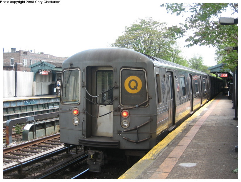 (150k, 820x620)<br><b>Country:</b> United States<br><b>City:</b> New York<br><b>System:</b> New York City Transit<br><b>Line:</b> BMT Brighton Line<br><b>Location:</b> Avenue M <br><b>Route:</b> Q<br><b>Car:</b> R-68A (Kawasaki, 1988-1989)  5030 <br><b>Photo by:</b> Gary Chatterton<br><b>Date:</b> 5/21/2008<br><b>Viewed (this week/total):</b> 0 / 1042