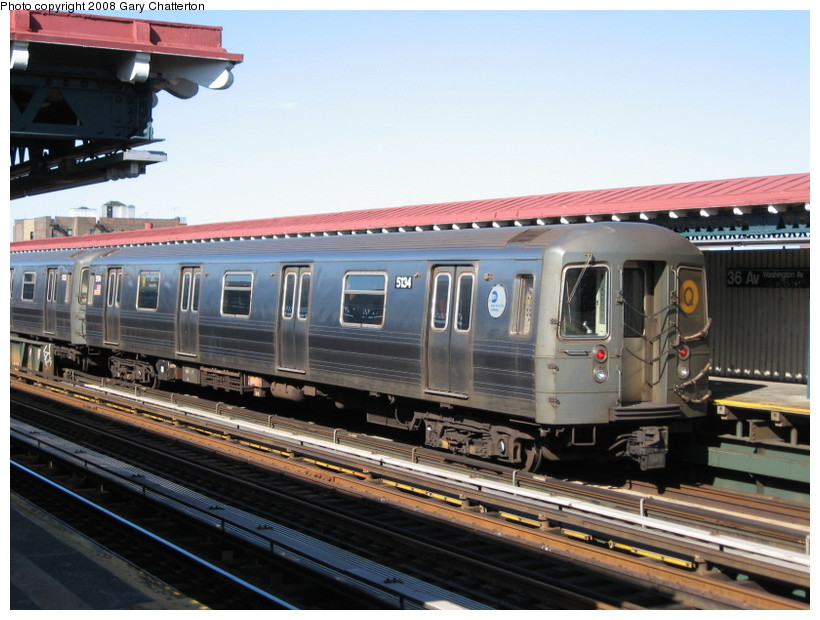 (140k, 820x620)<br><b>Country:</b> United States<br><b>City:</b> New York<br><b>System:</b> New York City Transit<br><b>Line:</b> BMT Astoria Line<br><b>Location:</b> 36th/Washington Aves. <br><b>Route:</b> Q reroute<br><b>Car:</b> R-68A (Kawasaki, 1988-1989)  5134 <br><b>Photo by:</b> Gary Chatterton<br><b>Date:</b> 5/25/2008<br><b>Viewed (this week/total):</b> 5 / 1406