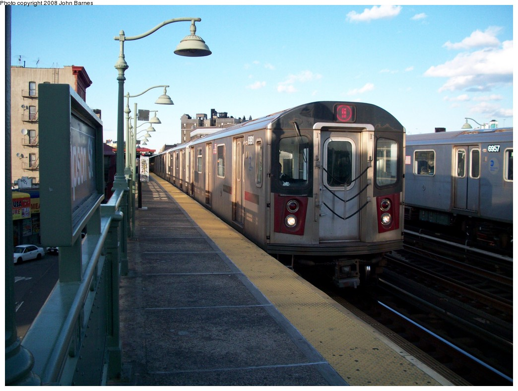 (199k, 1044x788)<br><b>Country:</b> United States<br><b>City:</b> New York<br><b>System:</b> New York City Transit<br><b>Line:</b> IRT White Plains Road Line<br><b>Location:</b> Simpson Street <br><b>Route:</b> 5<br><b>Car:</b> R-142 (Option Order, Bombardier, 2002-2003)  6991 <br><b>Photo by:</b> John Barnes<br><b>Date:</b> 5/19/2008<br><b>Viewed (this week/total):</b> 3 / 2131