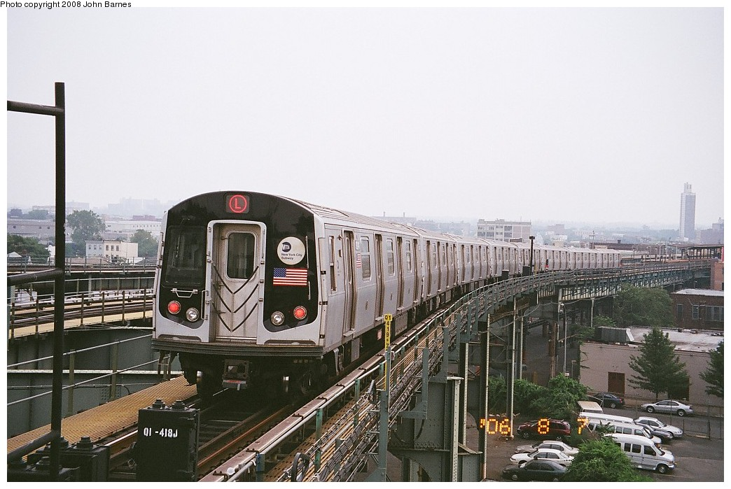 (217k, 1044x699)<br><b>Country:</b> United States<br><b>City:</b> New York<br><b>System:</b> New York City Transit<br><b>Line:</b> BMT Canarsie Line<br><b>Location:</b> Broadway Junction <br><b>Route:</b> L<br><b>Car:</b> R-143 (Kawasaki, 2001-2002) 8241 <br><b>Photo by:</b> John Barnes<br><b>Date:</b> 8/6/2006<br><b>Viewed (this week/total):</b> 3 / 946