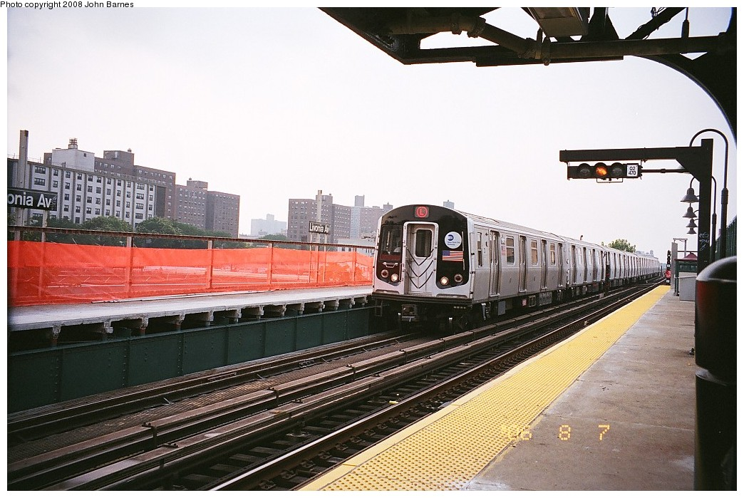 (230k, 1044x699)<br><b>Country:</b> United States<br><b>City:</b> New York<br><b>System:</b> New York City Transit<br><b>Line:</b> BMT Canarsie Line<br><b>Location:</b> Livonia Avenue <br><b>Route:</b> L<br><b>Car:</b> R-143 (Kawasaki, 2001-2002) 8148 <br><b>Photo by:</b> John Barnes<br><b>Date:</b> 8/6/2006<br><b>Viewed (this week/total):</b> 1 / 1460