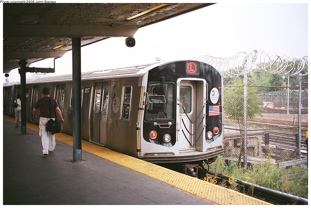 (274k, 1044x699)<br><b>Country:</b> United States<br><b>City:</b> New York<br><b>System:</b> New York City Transit<br><b>Line:</b> BMT Canarsie Line<br><b>Location:</b> Rockaway Parkway <br><b>Route:</b> L<br><b>Car:</b> R-143 (Kawasaki, 2001-2002) 8117 <br><b>Photo by:</b> John Barnes<br><b>Date:</b> 8/6/2006<br><b>Viewed (this week/total):</b> 0 / 1276