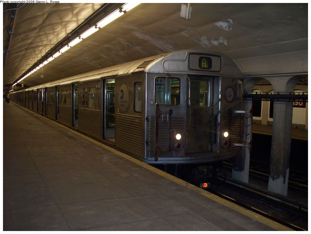 (173k, 1044x788)<br><b>Country:</b> United States<br><b>City:</b> New York<br><b>System:</b> New York City Transit<br><b>Line:</b> IND 8th Avenue Line<br><b>Location:</b> 190th Street/Overlook Terrace <br><b>Route:</b> A<br><b>Car:</b> R-38 (St. Louis, 1966-1967)  4148 <br><b>Photo by:</b> Glenn L. Rowe<br><b>Date:</b> 5/29/2008<br><b>Viewed (this week/total):</b> 0 / 1305