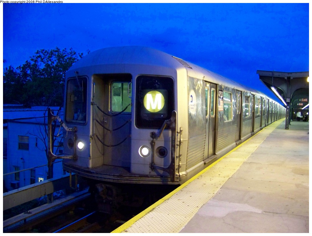 (188k, 1044x788)<br><b>Country:</b> United States<br><b>City:</b> New York<br><b>System:</b> New York City Transit<br><b>Line:</b> BMT Myrtle Avenue Line<br><b>Location:</b> Fresh Pond Road <br><b>Route:</b> M<br><b>Car:</b> R-42 (St. Louis, 1969-1970)  4753 <br><b>Photo by:</b> Philip D'Allesandro<br><b>Date:</b> 9/14/2007<br><b>Viewed (this week/total):</b> 0 / 857