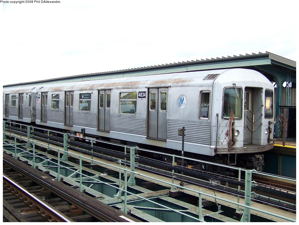 (244k, 1044x788)<br><b>Country:</b> United States<br><b>City:</b> New York<br><b>System:</b> New York City Transit<br><b>Line:</b> BMT Myrtle Avenue Line<br><b>Location:</b> Central Avenue <br><b>Route:</b> M<br><b>Car:</b> R-42 (St. Louis, 1969-1970)  4834 <br><b>Photo by:</b> Philip D'Allesandro<br><b>Date:</b> 9/14/2007<br><b>Viewed (this week/total):</b> 0 / 1237