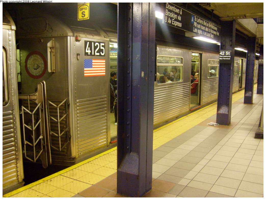 (279k, 1044x788)<br><b>Country:</b> United States<br><b>City:</b> New York<br><b>System:</b> New York City Transit<br><b>Line:</b> IND 8th Avenue Line<br><b>Location:</b> 42nd Street/Port Authority Bus Terminal <br><b>Route:</b> C<br><b>Car:</b> R-38 (St. Louis, 1966-1967)  4123 <br><b>Photo by:</b> Leonard Wilson<br><b>Date:</b> 5/31/2008<br><b>Viewed (this week/total):</b> 4 / 2260
