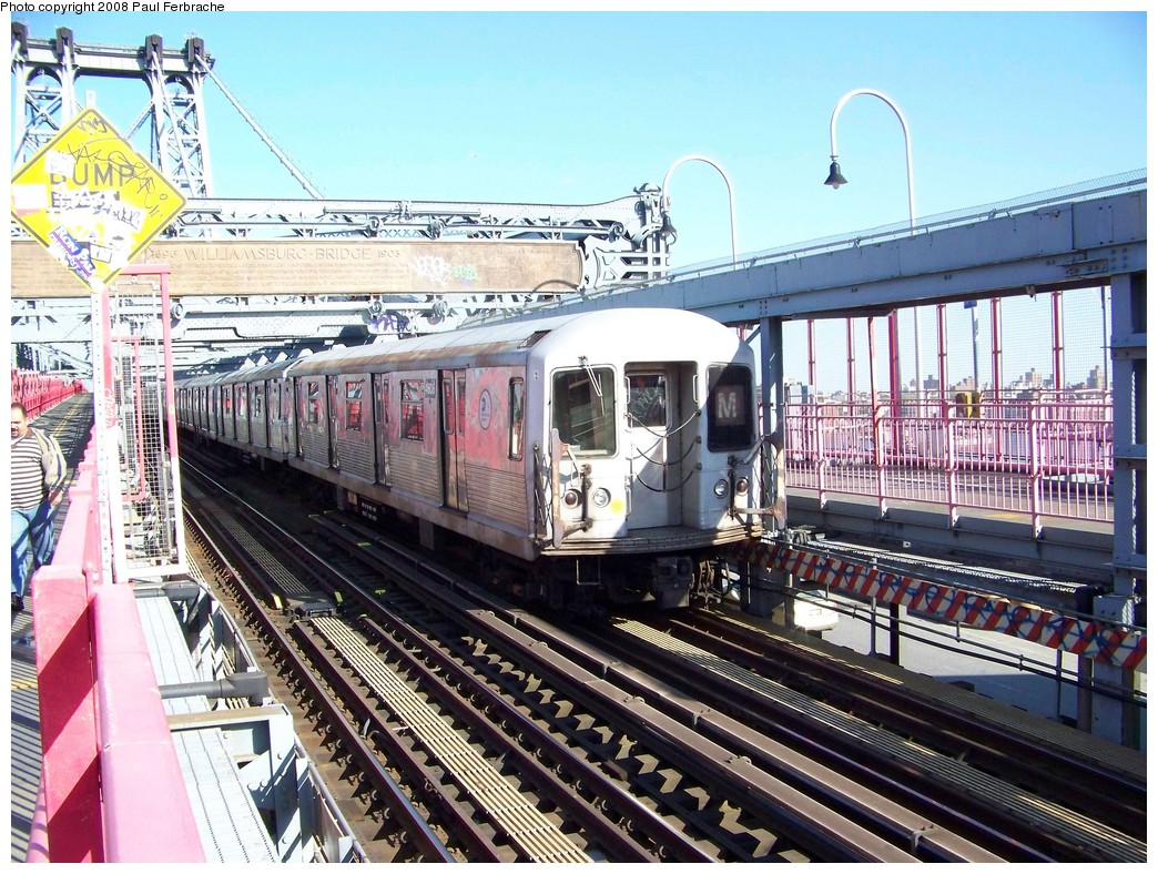 (302k, 1044x788)<br><b>Country:</b> United States<br><b>City:</b> New York<br><b>System:</b> New York City Transit<br><b>Line:</b> BMT Nassau Street/Jamaica Line<br><b>Location:</b> Williamsburg Bridge<br><b>Route:</b> M<br><b>Car:</b> R-42 (St. Louis, 1969-1970)  4606 <br><b>Photo by:</b> Paul Ferbrache<br><b>Date:</b> 4/29/2008<br><b>Viewed (this week/total):</b> 3 / 1051