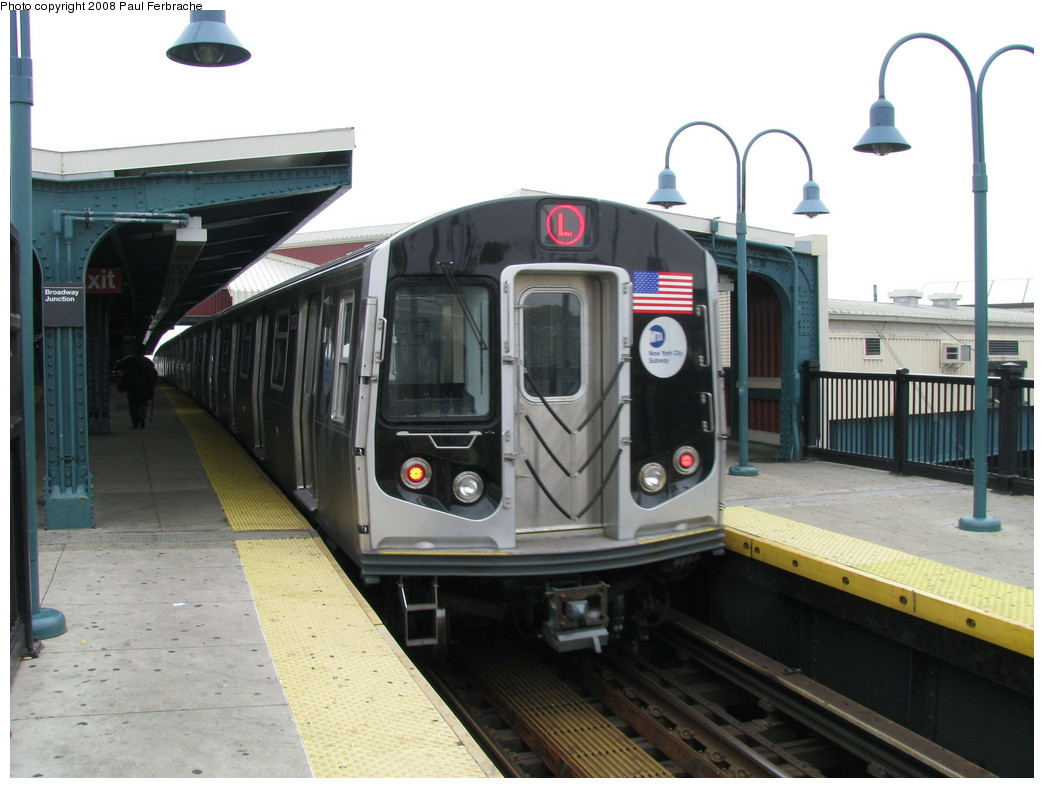 (186k, 1044x788)<br><b>Country:</b> United States<br><b>City:</b> New York<br><b>System:</b> New York City Transit<br><b>Line:</b> BMT Canarsie Line<br><b>Location:</b> Broadway Junction <br><b>Route:</b> L<br><b>Car:</b> R-160A-1 (Alstom, 2005-2008, 4 car sets)  8353 <br><b>Photo by:</b> Paul Ferbrache<br><b>Date:</b> 5/2/2008<br><b>Viewed (this week/total):</b> 1 / 1136