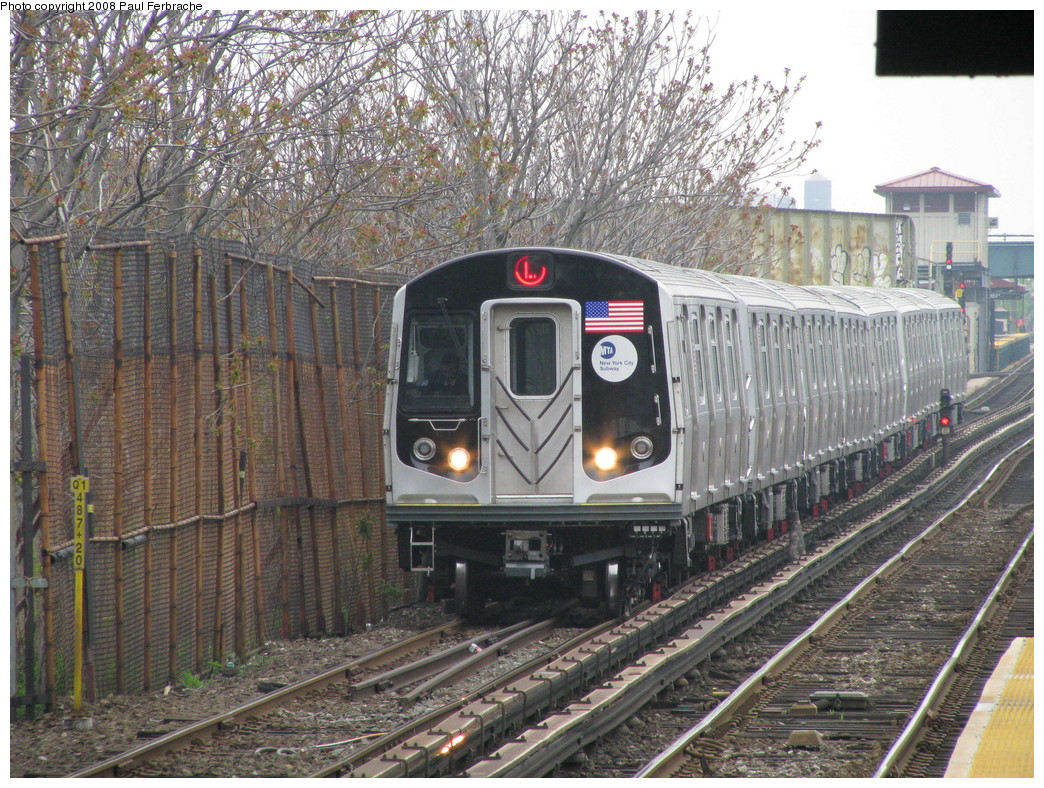 (333k, 1044x788)<br><b>Country:</b> United States<br><b>City:</b> New York<br><b>System:</b> New York City Transit<br><b>Line:</b> BMT Canarsie Line<br><b>Location:</b> New Lots Avenue <br><b>Route:</b> L<br><b>Car:</b> R-160A-1 (Alstom, 2005-2008, 4 car sets)  8408 <br><b>Photo by:</b> Paul Ferbrache<br><b>Date:</b> 5/2/2008<br><b>Viewed (this week/total):</b> 0 / 1533