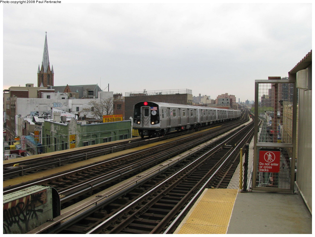(217k, 1044x788)<br><b>Country:</b> United States<br><b>City:</b> New York<br><b>System:</b> New York City Transit<br><b>Line:</b> BMT Nassau Street/Jamaica Line<br><b>Location:</b> Flushing Avenue <br><b>Route:</b> M<br><b>Car:</b> R-160A-1 (Alstom, 2005-2008, 4 car sets)  8448 <br><b>Photo by:</b> Paul Ferbrache<br><b>Date:</b> 5/1/2008<br><b>Viewed (this week/total):</b> 1 / 1333