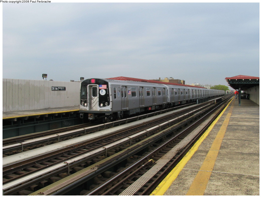 (208k, 1044x788)<br><b>Country:</b> United States<br><b>City:</b> New York<br><b>System:</b> New York City Transit<br><b>Line:</b> BMT Astoria Line<br><b>Location:</b> 36th/Washington Aves. <br><b>Route:</b> N<br><b>Car:</b> R-160B (Kawasaki, 2005-2008)  8913 <br><b>Photo by:</b> Paul Ferbrache<br><b>Date:</b> 5/1/2008<br><b>Viewed (this week/total):</b> 0 / 1805
