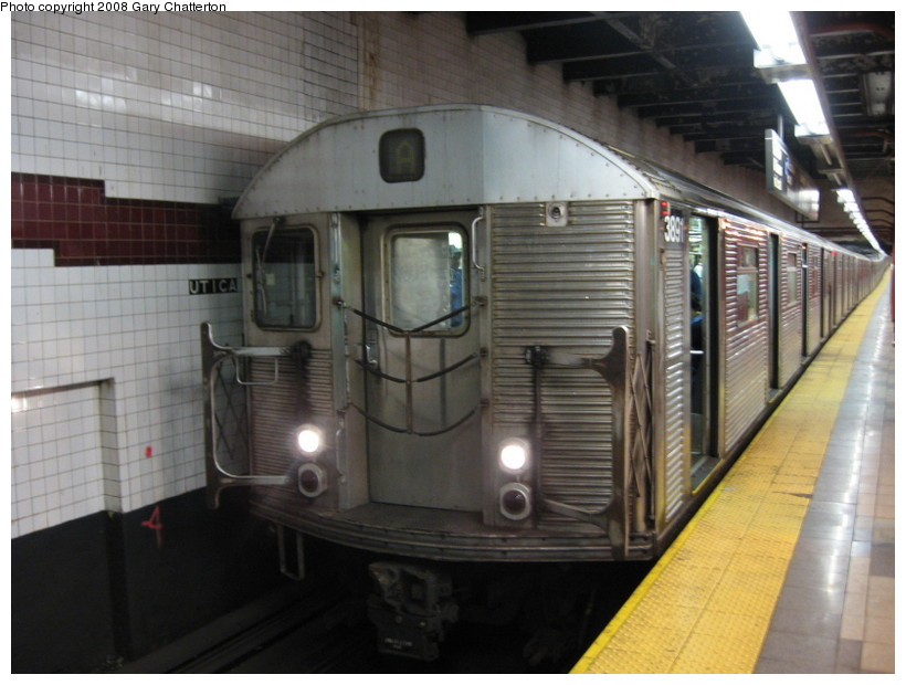 (123k, 820x620)<br><b>Country:</b> United States<br><b>City:</b> New York<br><b>System:</b> New York City Transit<br><b>Line:</b> IND Fulton Street Line<br><b>Location:</b> Utica Avenue <br><b>Route:</b> A<br><b>Car:</b> R-32 (Budd, 1964)  3891 <br><b>Photo by:</b> Gary Chatterton<br><b>Date:</b> 5/28/2008<br><b>Viewed (this week/total):</b> 0 / 1565