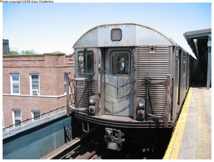 (152k, 820x620)<br><b>Country:</b> United States<br><b>City:</b> New York<br><b>System:</b> New York City Transit<br><b>Line:</b> IND Fulton Street Line<br><b>Location:</b> Lefferts Boulevard <br><b>Route:</b> A<br><b>Car:</b> R-32 (Budd, 1964)  3837 <br><b>Photo by:</b> Gary Chatterton<br><b>Date:</b> 5/28/2008<br><b>Viewed (this week/total):</b> 0 / 978